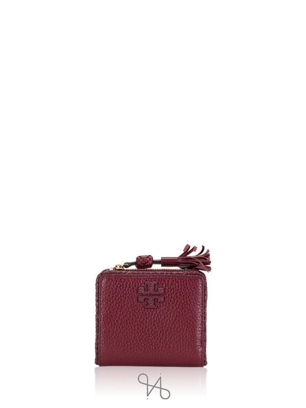 TORY BURCH Taylor Leather Mini Wallet Imperial Garnet
