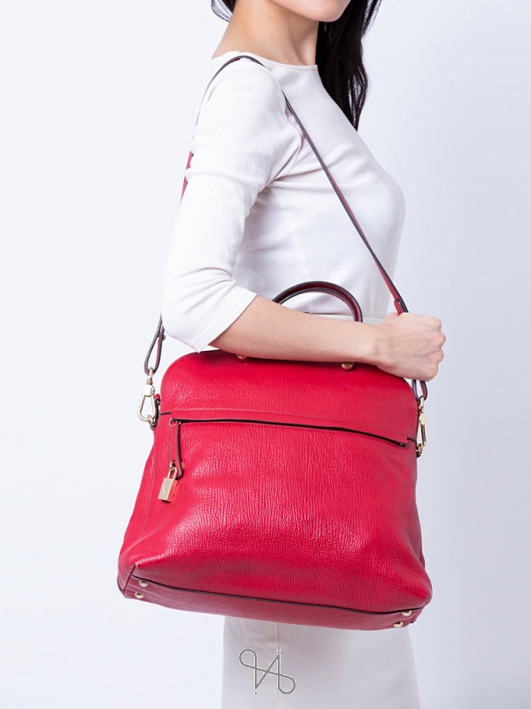 FURLA Piper Dome Large Leather Satchel Red