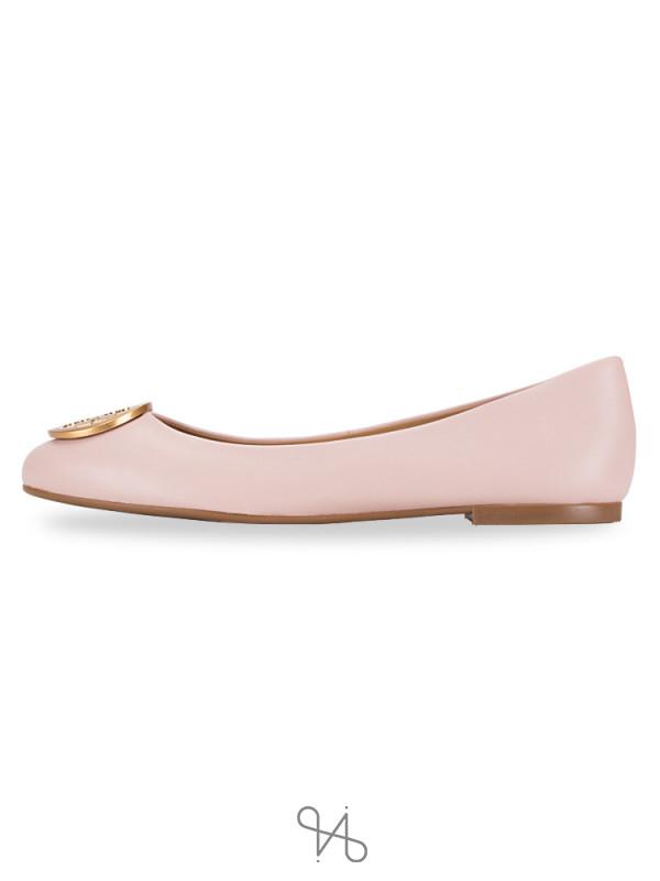 TORY BURCH Benton Leather Flats Sea Shell Pink Sz 7