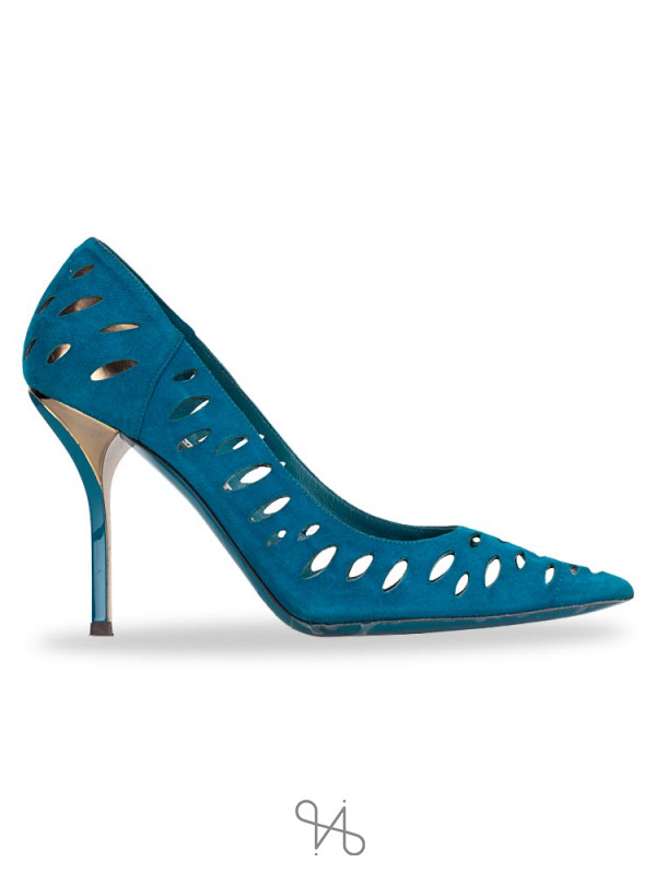 JIMMY CHOO Suede Talka Pumps Blue Bottle Sz 36.5