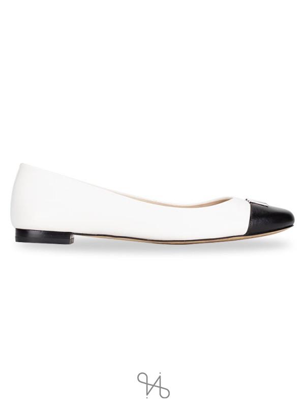 MICHAEL KORS Hayley Leather Ballet Flats Optic White Black Sz 8