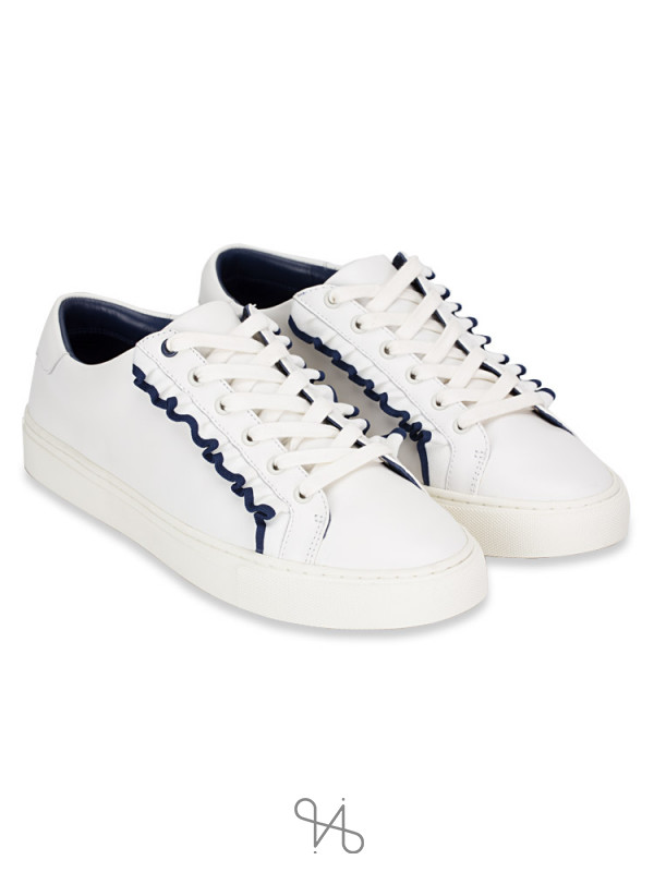 TORY SPORT Ruffle Leather Sneakers Snow White Navy Sea Sz 9