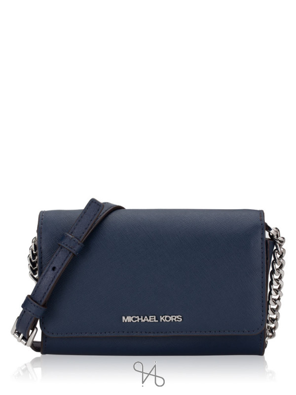 MICHAEL KORS Jet Set Medium Multifunction Phone Crossbody Navy