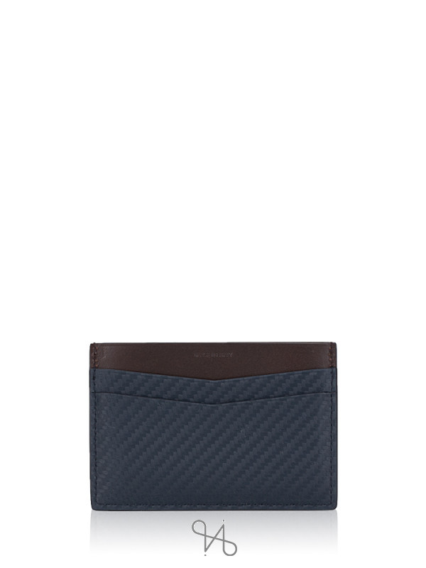 DUNHILL Men Chassis Leather Simple Card Case Navy Multi
