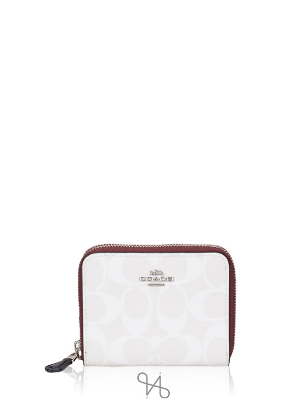 COACH 91618 Signature Blocked Small Double Zip Wallet Chalk Multi