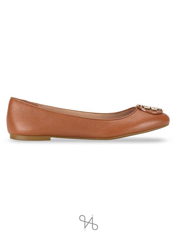 TORY BURCH Claire Tumbled Leather Flats Royal Tan Sz 10