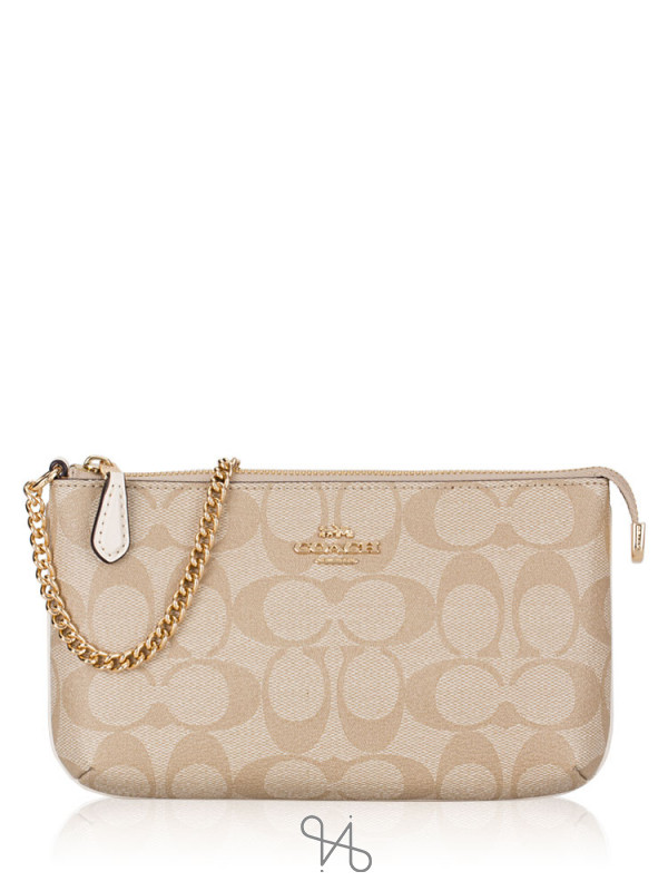 COACH 88035 Signature Wristlet Chain Light Khaki Chalk