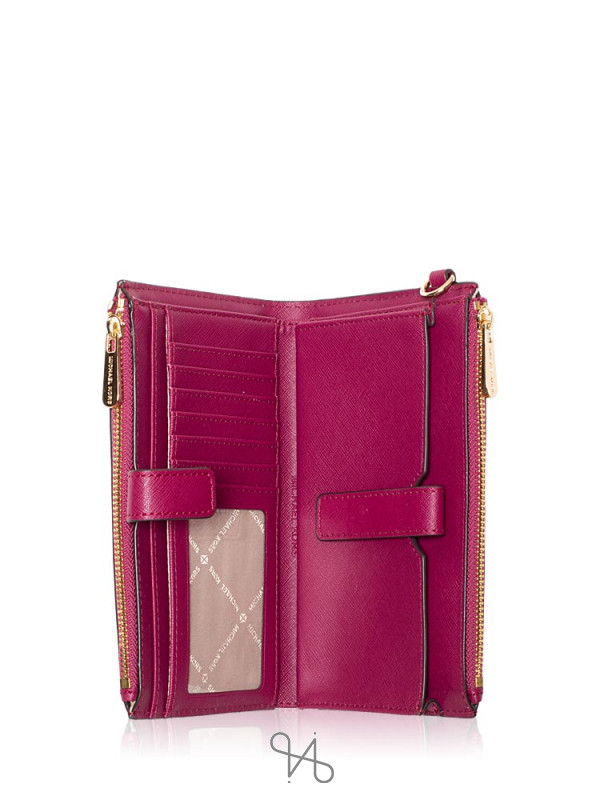MICHAEL KORS Jet Set Travel Double Zip Wristlet Magenta