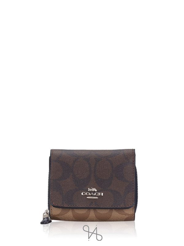 COACH 78081 Blocked Signature Small Trifold Wallet Brown Midnight