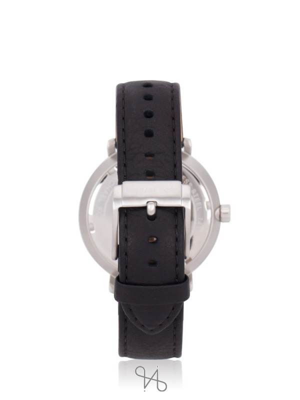 MICHAEL KORS Men MK8674 Blake Leather Strap Black Silver