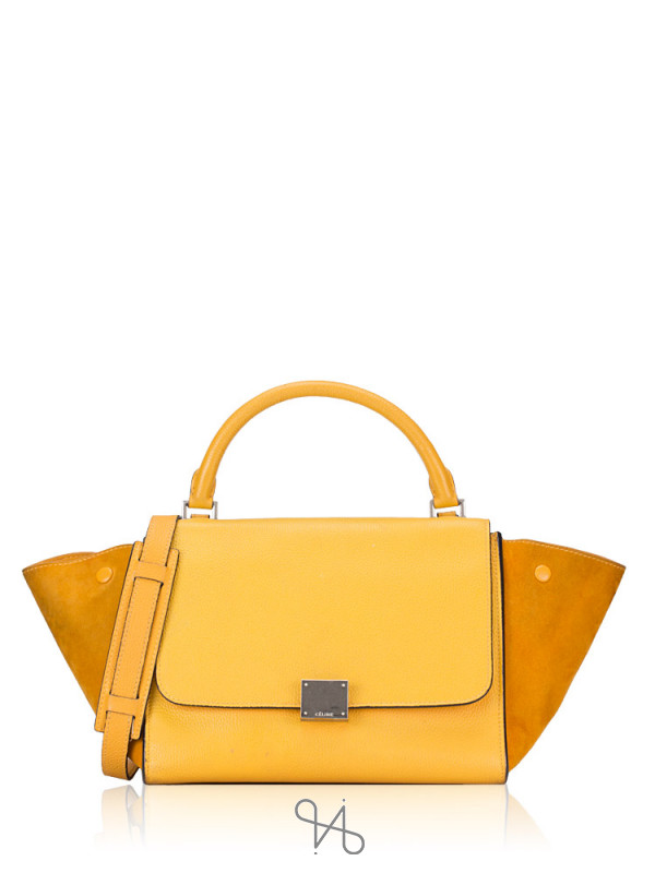 CELINE Calfskin and Suede Small Trapeze Ocre