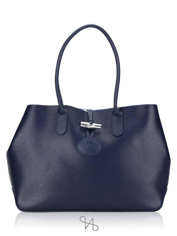 LONGCHAMP Roseau Leather Tote Marine Sky Blue