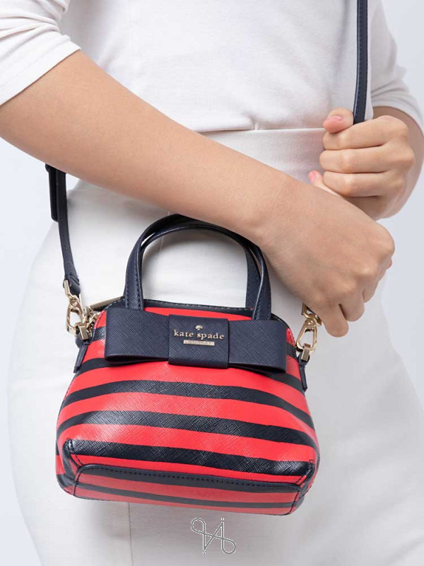 KATE SPADE Julia Street Stripe Mini Maise French Navy Red