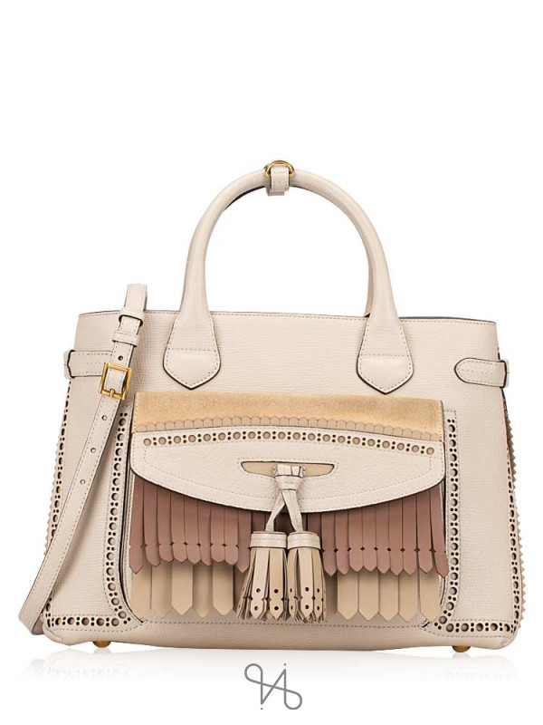 BURBERRY Broguing Fringe Small Banner Tote Cream