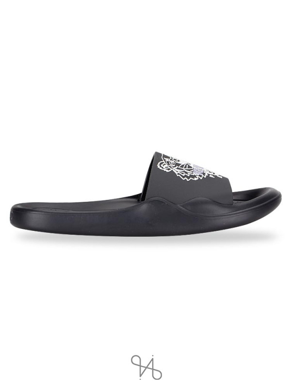 KENZO Men Tiger Pool Slide Sandal Black White Sz 41