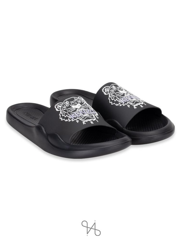 KENZO Men Tiger Pool Slide Sandal Black White Sz 42