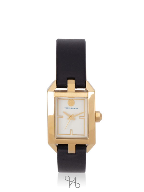 TORY BURCH TBW1106 Dalloway Leather Strap Watch Black