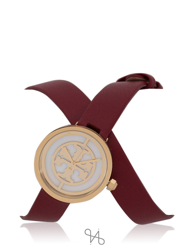 TORY BURCH TBW4031 Reva Leather Double Wrap Watch Cranberry