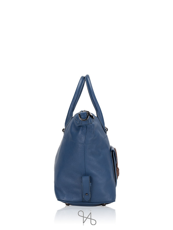 LOEWE Ostrich-Trimmed May 36 Bag Blue
