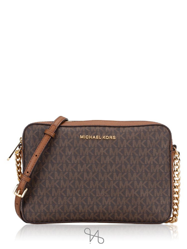 MICHAEL KORS Jet Set Item Signature Large Crossbody Brown Luggage
