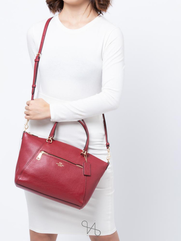 COACH 79997 Pebble Leather Prairie Satchel Deep Scarlet