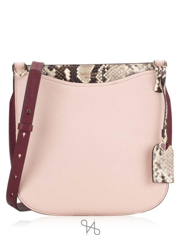 KATE SPADE Margaux Snake Embossed Large Crossbody Pale Vellum
