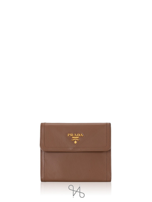 PRADA 1M0170 Soft Calf Bi-Fold Wallet Torba Brown