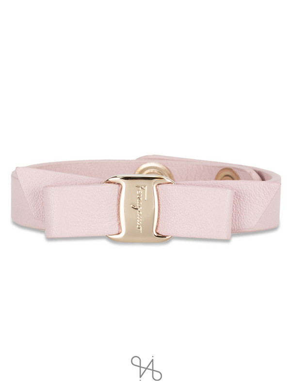 SALVATORE FERRAGAMO Vara Bow Leather Bracelet Pink
