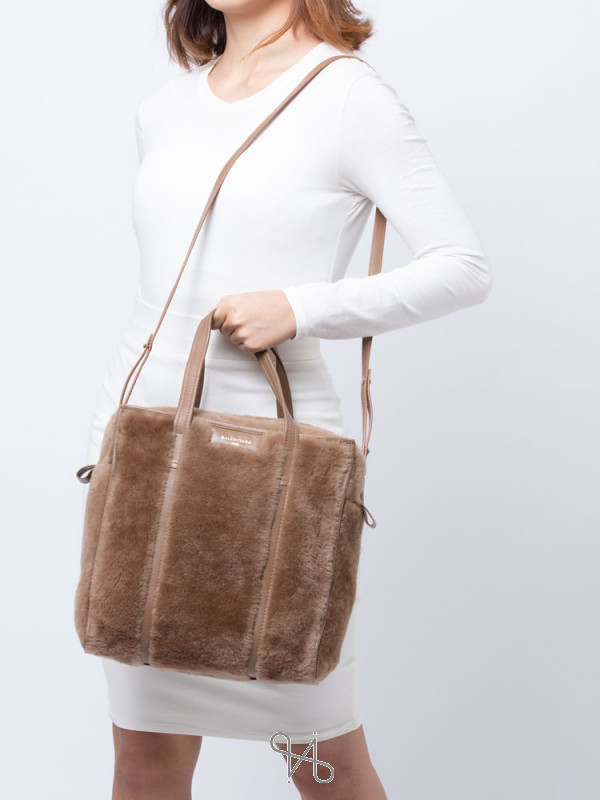BALENCIAGA Bazar Shearling Fur Small Shopper Brown