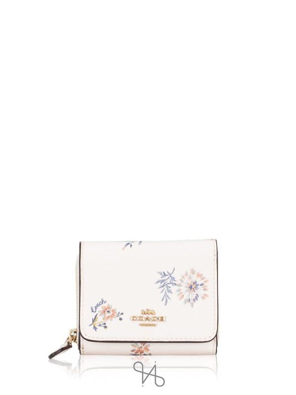 COACH 2924 Dandelion Floral Small Trifold Wallet Chalk Blue Multi