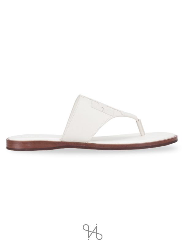 TORY BURCH Jamie Logo Flat Thong Sandal Ivory Sz 7