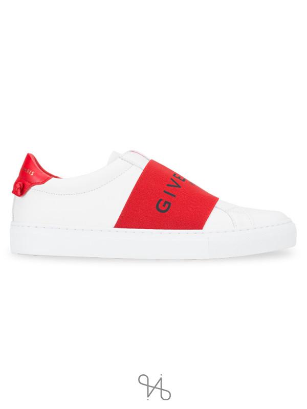 GIVENCHY Logo Strap Urban Street Sneakers White Red Sz 36