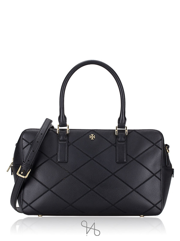 TORY BURCH Robinson Stitched Large Square Satchel Black