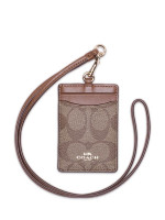 COACH 63274 Signature ID Lanyard Khaki Saddle