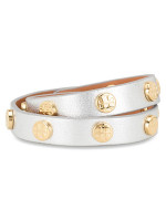 TORY BURCH Leather Logo Stud Double Wrap Bracelet Silver Gold