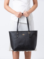 COACH 58846 Crossgrain City Leather Zip Tote Black