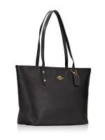COACH 58846 Crossgrain City Leather Zip Tote Black