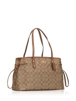 COACH 57842 Signature Drawstring Carryall Khaki Saddle