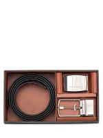 COACH Men 65242 Signature Plaque Heritage Belt Gift Box Charcoal Black