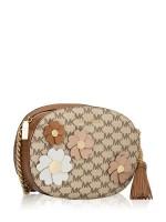 MICHAEL KORS Floral Applique Signature Ginny Medium Messenger Natural Luggage