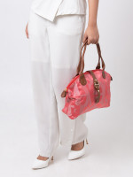 AIGNER Piccolina Signature Nylon Tote Coral Red