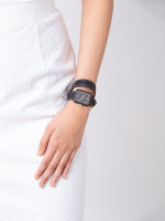 FOSSIL ES4193 Atwater Leather Wrap Strap Black