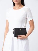 COACH 87587 Pebble Leather Double Zippy Wallet Black