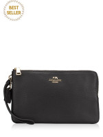 COACH 87587 Pebble Leather Double Zippy Wallet Black