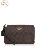COACH 16109 Signature Double Zip Wallet Brown Black