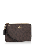 COACH 16109 Signature Double Zip Wallet Brown Black