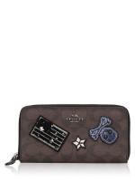 COACH 11855 Signature Varsity Large Patches Zip Wallet Brown Black