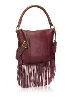FOSSIL SHB1477609 Molly Fringe Leather Hobo Wine
