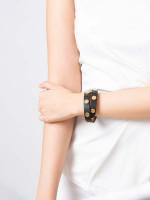 TORY BURCH Leather Logo Stud Double Wrap Bracelet Black Tan