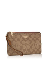 COACH 16109 Signature Double Zip Wallet Khaki Saddle